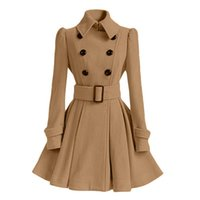 Women's Trench Coats Pure Color Waist Coat Winter Lapel Self-Cultivation Pleated Double-Breasted Belted Warm Boutique 2021