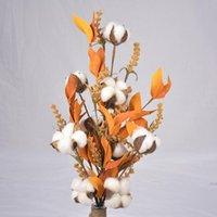 Ручной хлопковый шар шар высушенный цветок дома декор искусственный с красочными листьями свадьба декоративные цветы венки