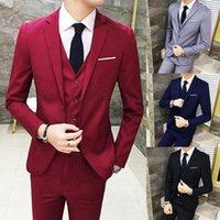 Men's Suits & Blazers 3Pcs Men Solid Color Long Sleeve Slim Blazer (Jacket+Vest+Pants) For Wedding Busniess Set Costumes Homme