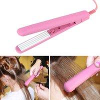 Mini Pink Ceramic Electronic Straightener Iron Chapinha Straightening Corrugated Irons Hair Crimper Styling Tools 100~240V