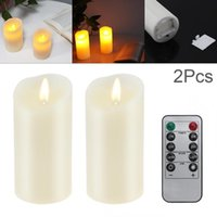 Candles 2Pcs Set LED Flameless Candle Lights With Remote Control Year Battery Powered Tea Easter