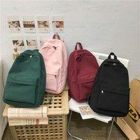 Backpack Style 2021 Women Solid Color Shoulder Bag Fashion School For Teenage Girl Children Backpacks Female