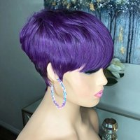 Short Bob Pixie Cut Human Hair Wig Full Machine Made Purple Color None Lace Front Wigs With Bangs For Women Cosplay Party
