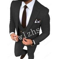 Handsome One Button Groomsmen Notch Lapel Groom Tuxedos Mens Wedding Dress Man Jacket Blazer Prom Dinner suits (Jacket+Pants+Tie+Vest) W722