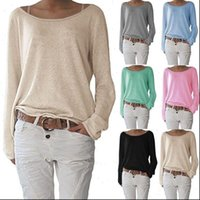 Casual Loose Long Sleeve Pure Women Tops Clothing Fashion Summer Spring Autumn Basic Top
