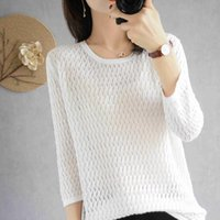 Women's Pullover O-Neck Knitted Short-Sleeve Sweater Solid Color Slim Short Jacket Fashion Korean Elastic Sleeve Sweaters