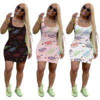 Kadın Tasarımcılar Giysileri 2021 Casual Mektup Baskı Sleeveless Maxi Elbise Yaz Yelek Elbise Kadın Elbise Modelleri