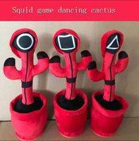 Tintenfischspiel Tanzen Singing Cactus USB-Aufladung Unterhaltung Plüsch Puppe Arbeitszimmer Weiche Ornamente Kinder Kinder Halloween Weihnachtsgeschenke W013
