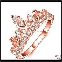 Bant JewelryZircon Kristal Elmas Taç Kadın Yüzük Parmak Gelin Yüzükler Düğün Takı Gül Altın Kaplama 1689 Bırak Teslimat 2021 Tyabj