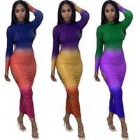 Elegante elegante gradiente color de la impresión de las mujeres de la manga larga lateral hueco hacia fuera los vestidos delgados de otoño con forma de cuerpo conjuntamente vestidos