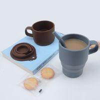 Massivfarbe Kaffeetasse mit Deckel Silikon Faltbar Wassertasse Einziehbare Camping Reise Weinglas