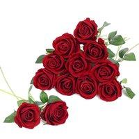 Fiori decorativi Corone Artificiale Rosa Veelet Veelet Flower Sigle Long Stem Real Touch per Bouquet di nozze fai da te Party Home Decor 12pcs