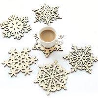 خشبي ندفة الثلج القدح الوقايات حامل أنيقة المشروبات القهوة كوب الشاي حصيرة عيد الميلاد الجدول الديكور كوستر الإبداعية مجوف كأس منصات DBC BH3522