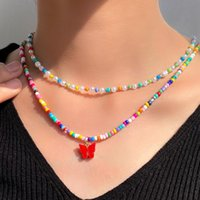 Chains Bohemian Candy Color Imitation Pearl Beaded Necklace For Women Colorful Acrylic Glass Bead Strand Choker Collar Fashion Jewelry