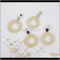 Dangle & Chandelier Jewelry4 Colors Hand-Woven Wood Rattan Weaving Round Stone Ear Stud Korean Exotic National Style Earrings Drop Delivery