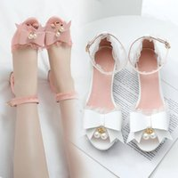Dress Shoes YMECHIC Pink White Princess Lovely Chunky Heels Sandals Women Summer Party Lolita Womans Ruffles Ankle Strap Bow Sandal
