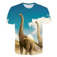 2021 динозавр лето 3d печать футболки дети детская улица забавный мультфильм животных тройник топы мальчики девушки спортивные моды футболка хараджуку одежда