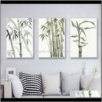 Pinturas Folha de Bambu Cartaz Zen Decoração Chinesa Unreal Tinta Abstrata Imprimir Pintura de Canvas Pintura para casa Decor RRTFC DPFRK