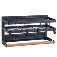 Frames Double-layer Black Magnetic Fridge Organizer With Paper Towel Holder And 4 Removable Hooks Kitchen Spice Rack Refrigerator