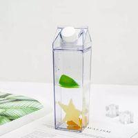 Milk Carton Water Bottle 500ml Transparent Square High Capacity Cup Plastic Coffee Drink Mug Originality DH5767