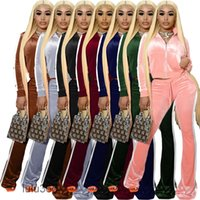 2021 Contrast Color Velvet Tracksuits Women Two Piece Suit Lace Up Drawstring Long Sleeve Top & Flare Sweatpant Loungewear Outfits lulu365