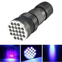 Luci flash portatili UV Ultra Violet 21 LED Mini Blacklight Torcia in alluminio Lampada da torcia P25 Torcia a torcia