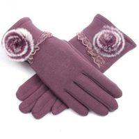 Варежки зимние перчатки женские теплые осенний сенсорный экран Корейский плюшевый утолщенная леди милый палец за рулем и катание