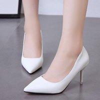 Dress Shoes Plus Size 25 Color Basic Pumps Ol Office Lady High Heels Wedding Bridal Woman Patent Leather Pump White