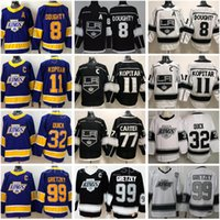 Reverse Retro 로스 앤젤레스 킹스 저지 8 Drew Doughty 11 Anze Kopitar 32 Jonathan Quick 99 Wayne Gretzky 77 Jeff Carter 화이트 블랙 하키 남성 보라색
