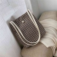 Bucket bag women's 2021 net red new Korean fashion lattice women's bag slant span large capacity shoulder bag C0505