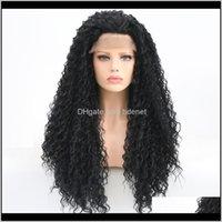 Rongduoyi Long Black 고온 섬유 머리카락 합성 프론트 가발 Kinky 여성을위한 곱슬 딱지없는 레이스 가발 Nrafb Kwzho