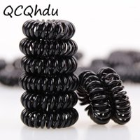 Women Headband Telephone Cord Elastic Ponytail Holders Hair Ring Scrunchies For Girl Rubber Band Tie 10PCS Black+ Colorful1