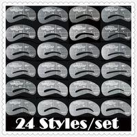 Wholesale - Wholesale-LANBENA Women&039;s Fashion Eyebrow Template Eye Brow Card 24PCS Grooming Stencil Kit Shaping Shaper Make Up DIY Tools1