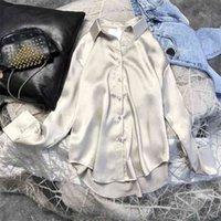 Spring Womens Clothing Silk Shirt Vintage Blouse Women Sheer Top Women Longsleeve Dress Shirt Plus Size Woman Overshirt