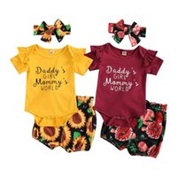Clothing Sets 0-18M Summer Causal Baby Girls Boys Clothes Letter Ruffles Short Sleeve Romper Floral Shorts Headband