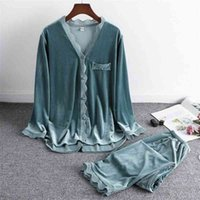 LisacMvvnel Gold Terciopelo Mantener las mujeres cálidas Pijama Set Lace Sexy Manga larga Pijamas 210330