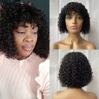 Curly Human Hair Peruvian Short Bob Wig With Bangs Glueless Full Machine Made Remy Wigs 150% Density No Lace