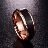 Cluster Rings 2021 Trendy Matte Rose Gold 8MM Ring Female Party Anniversary Stainless Steel For Men Women Accessories Jewelry Whole Sale