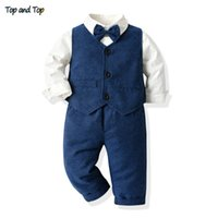 Top and Top Fashion Toddler Boys Clothing Sets Long Sleeve Bowtie Casual Shirt+Waistcoat+Trousers Bebes Ropa Infant Boy Clothing 210506