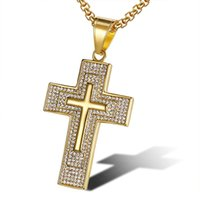 Stainless Steel Iced Out Crystal Cross Pendant Necklaces With Chain For Women Men Hip Hop Jewelry