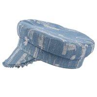 데님 군사 모자 여성 구멍 평면 모자 가을 겨울 빛 블루 숙녀 빈티지 고품질 군대 모자