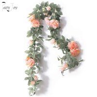 Decorative Flowers & Wreaths PARTY JOY 2Pcs 2M Fake Silk Rose Vine Artificial Hanging Ivy Garland For Wedding Home Office Garden Craft Decor