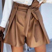 Moarcho повседневная высокая талия поясняет кожаные шорты для женщин упругий твердый офис ежедневно короткий весна 210714
