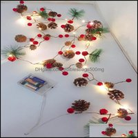 Decorations Festive Party Supplies Home & Gardeninterior&External Lights Christmas Pine Cone Needle Lamp String Led Copper Wire Red Fruit Gw