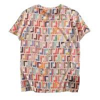 Verão Primavera Mulheres FF Vestidos Designer Camisetas Camisetas Mulheres Impresso Manga Curta Oversize Solta Blusa Tee Camisa Striped Casual