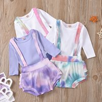 kids Clothing Sets girls boys outfits infant toddler Tie dye Pit stripe romper Tops+Overalls Suspender shorts 2pcs set summer fashion Boutique baby Clothes Z3209