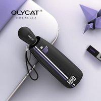 Зонтики Olycat складной зонт Симпатичные ветрозащитный УФ-мини-маленький карманный дождь женщины детская полоса дизайн