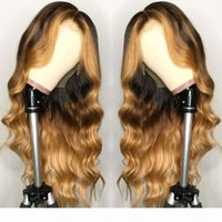 Mettez en évidence Blonde Ombre Libre Body Wave Dentelle Front Human Hair Perruques pour femmes noires Brésilien Remy Baby Preinked Silk Base Wigaaaaa