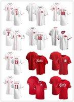 맞춤 저지 망 여성 청소년신시내티빨간색5 Johnny Bench 19 Joey Votto 7 Eugenio Suarez 11 Barry Larkin Baseball Jerseys