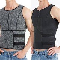 Men's Body Shapers Men Sauna Zipper Waist Trainer Corset Vest Slimming Shaper Belt Compression Shapewear Trimmer Top